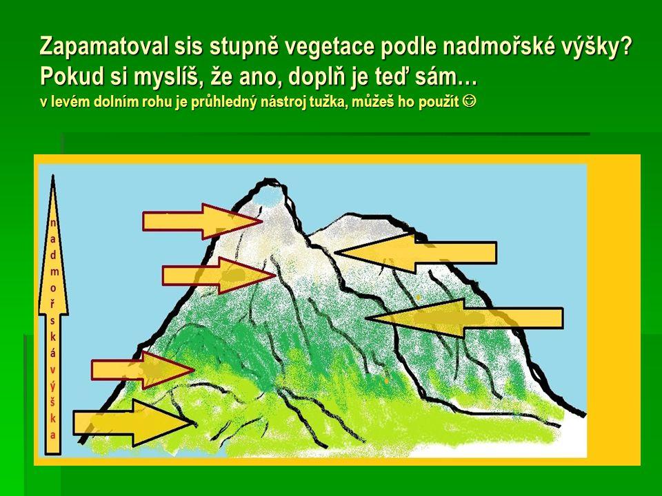 Zapamatoval sis stupně vegetace podle nadmořské výšky
