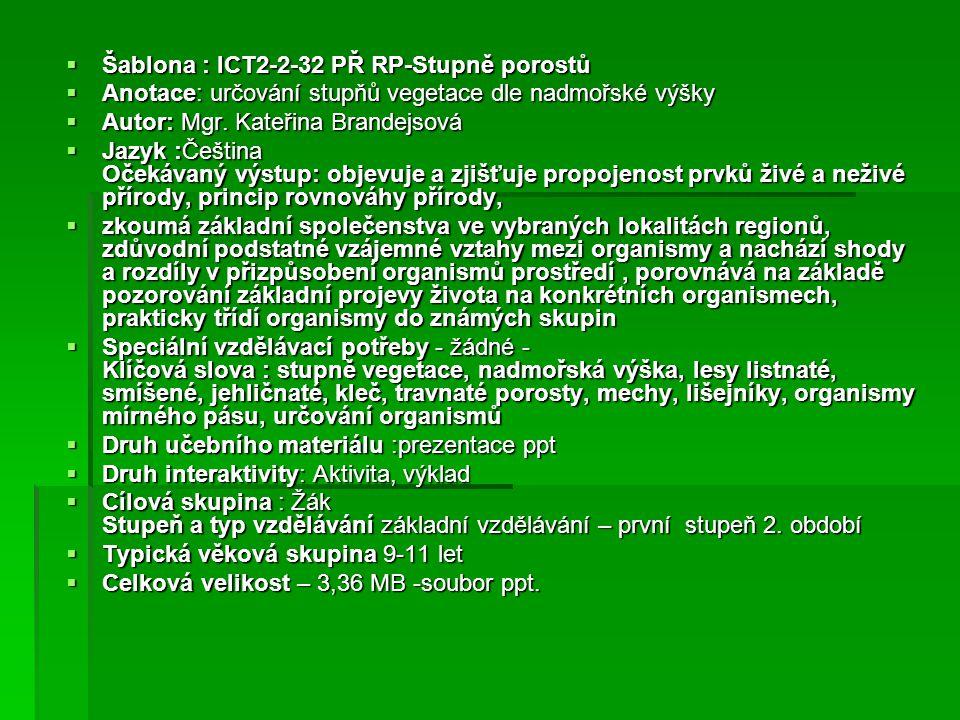 Šablona : ICT2-2-32 PŘ RP-Stupně porostů