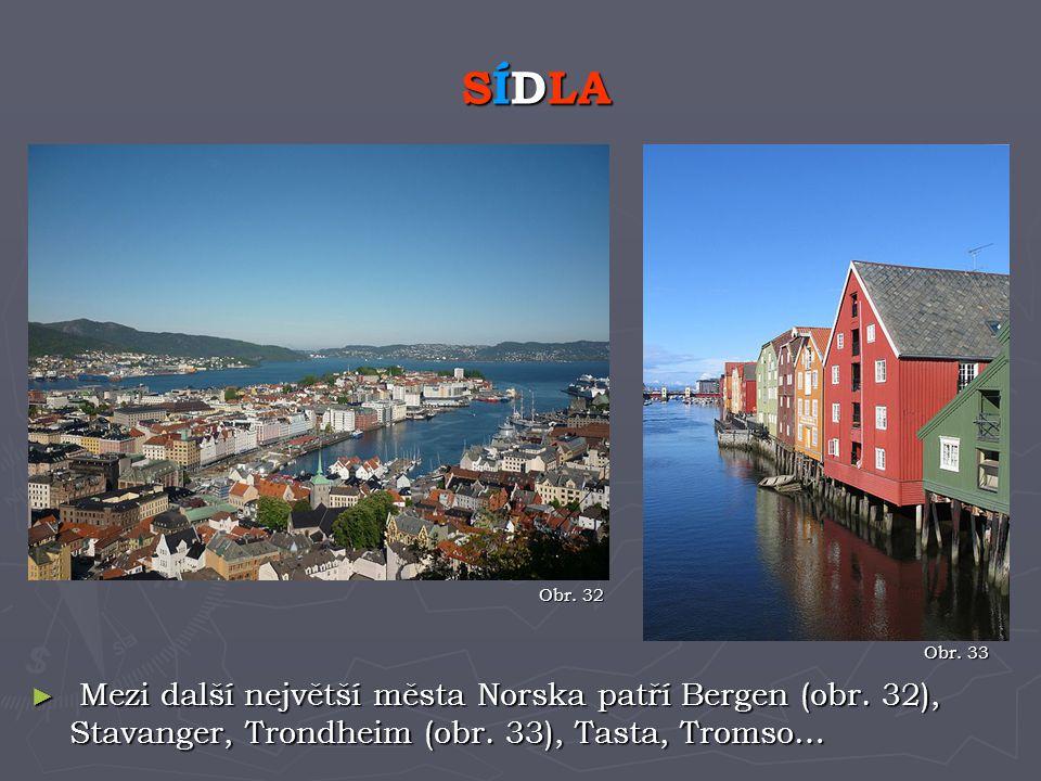 SÍDLA Obr. 32. Obr. 33. Mezi další největší města Norska patří Bergen (obr.