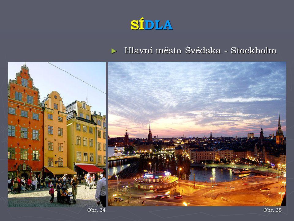SÍDLA Hlavní město Švédska - Stockholm Obr. 34 Obr. 35