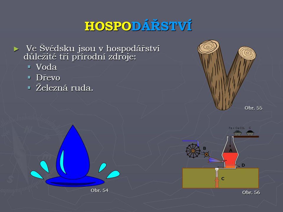 HOSPODÁŘSTVÍ Ve Švédsku jsou v hospodářství důležité tři přírodní zdroje: Voda. Dřevo. Železná ruda.