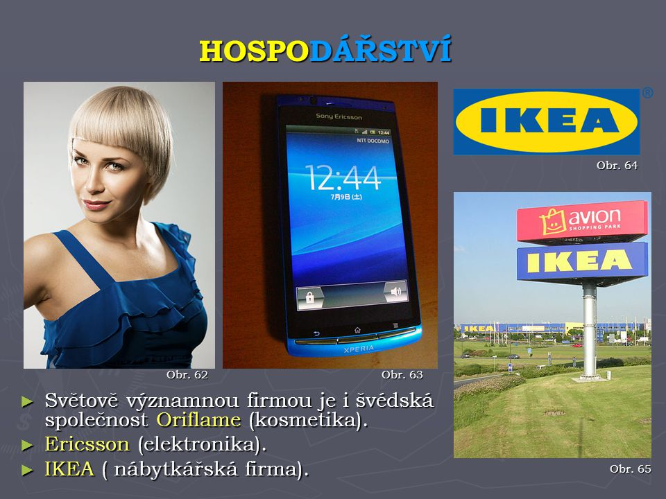 HOSPODÁŘSTVÍ Obr. 64. Obr. 62. Obr. 63. Světově významnou firmou je i švédská společnost Oriflame (kosmetika).