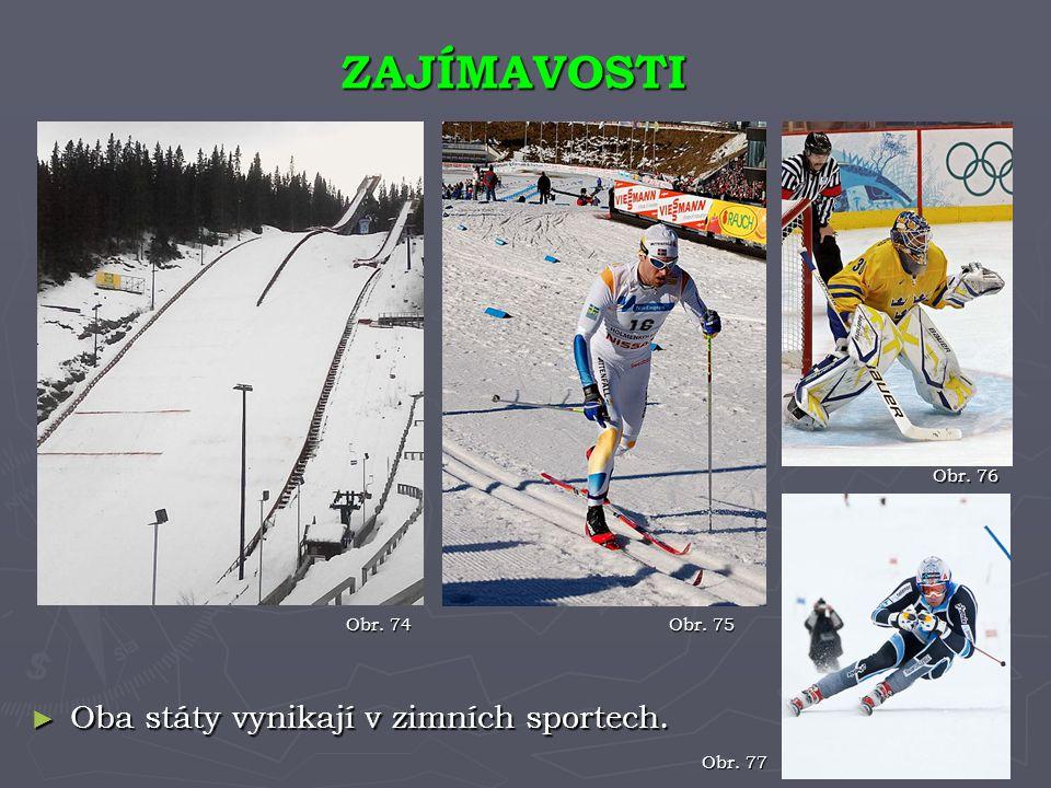 ZAJÍMAVOSTI Oba státy vynikají v zimních sportech. Obr. 76 Obr. 74