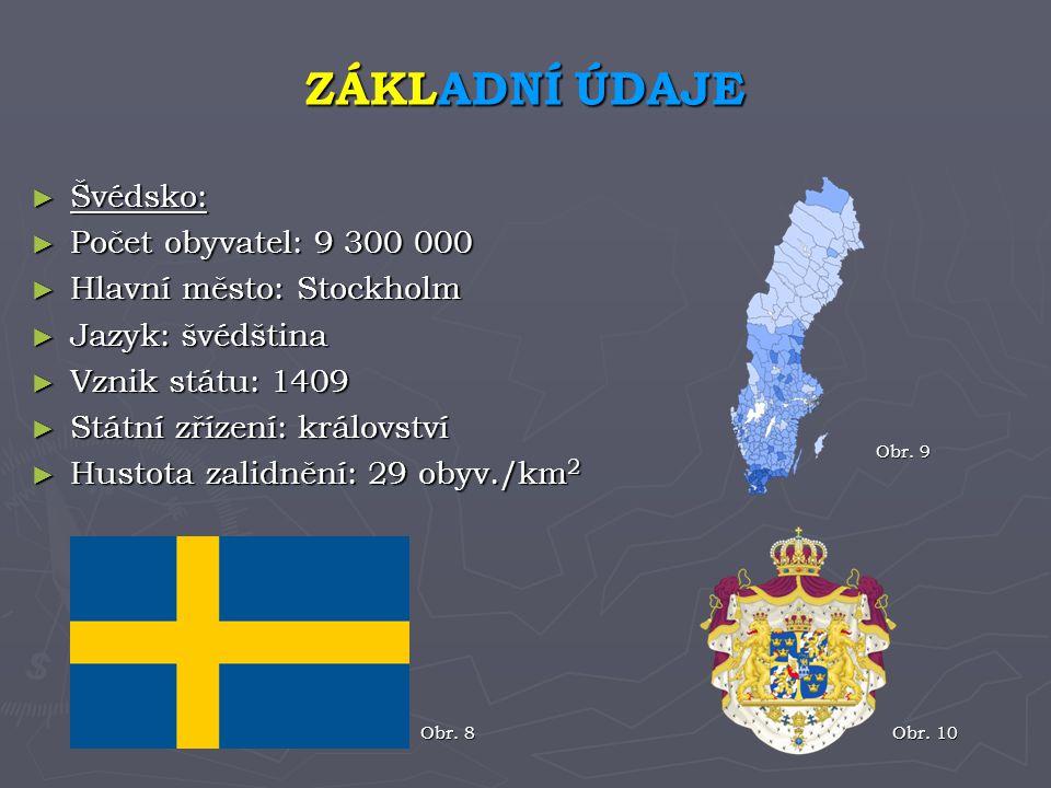 ZÁKLADNÍ ÚDAJE Švédsko: Počet obyvatel: 9 300 000