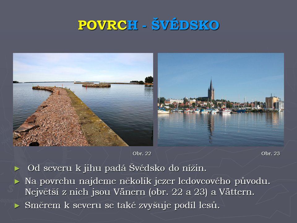 POVRCH - ŠVÉDSKO Od severu k jihu padá Švédsko do nížin.