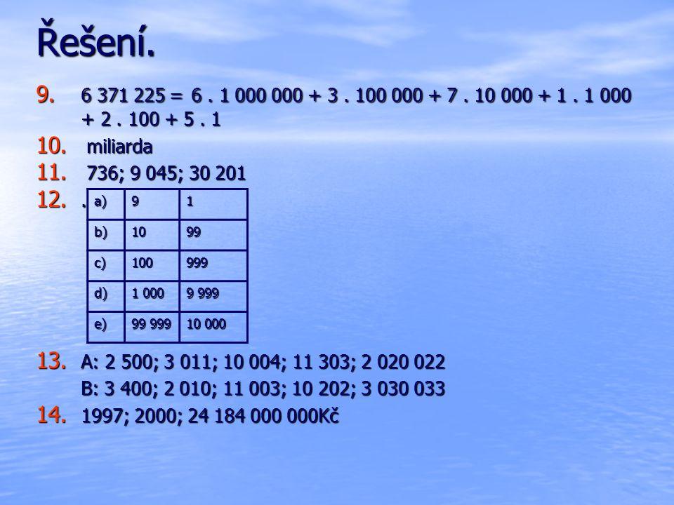 Řešení. 6 371 225 = 6 . 1 000 000 + 3 . 100 000 + 7 . 10 000 + 1 . 1 000 + 2 . 100 + 5 . 1. miliarda.