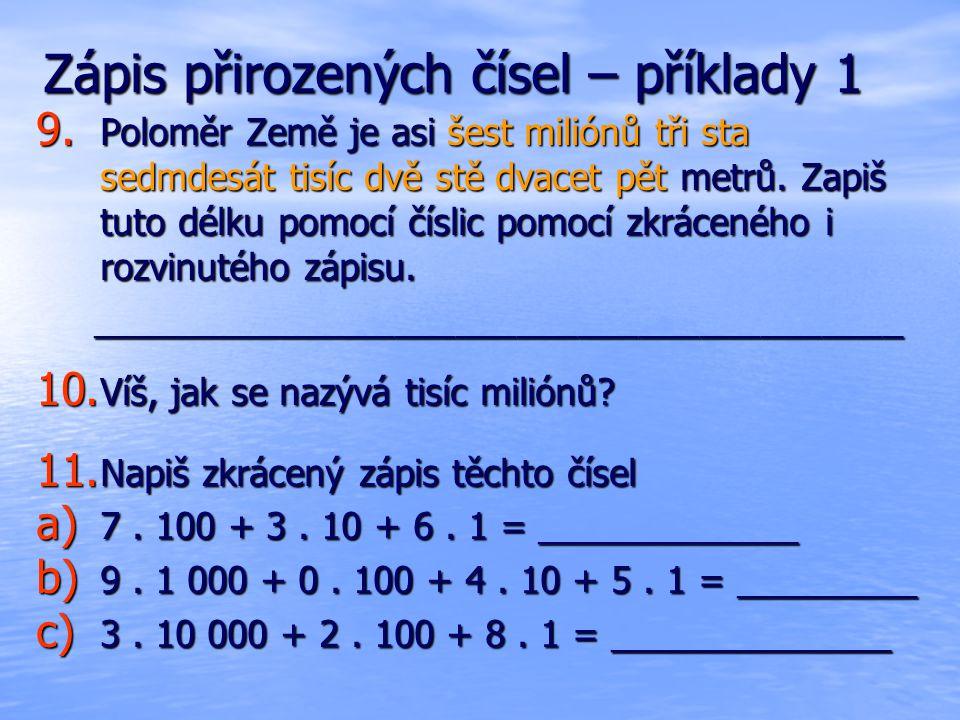 Zápis přirozených čísel – příklady 1