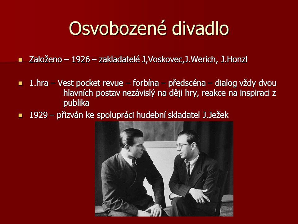Osvobozené divadlo Založeno – 1926 – zakladatelé J,Voskovec,J.Werich, J.Honzl.