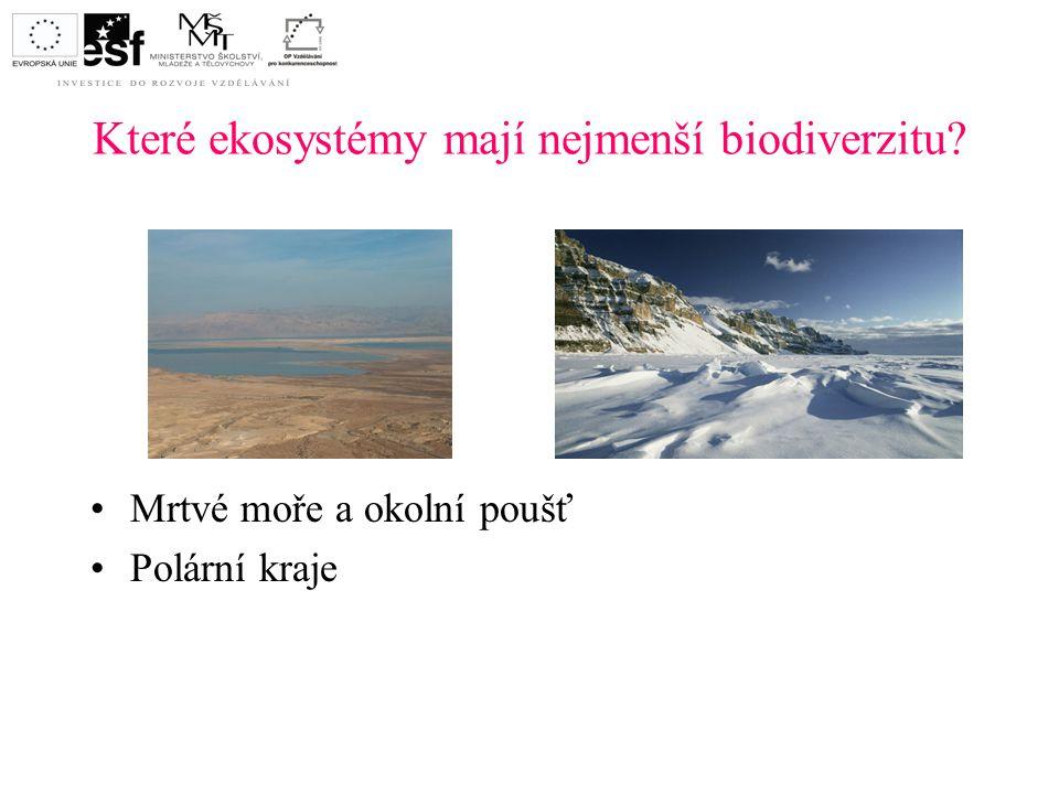 Které ekosystémy mají nejmenší biodiverzitu