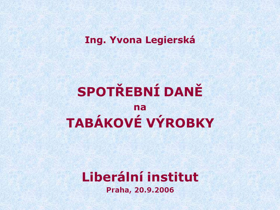 SPOTŘEBNÍ DANĚ TABÁKOVÉ VÝROBKY Liberální institut