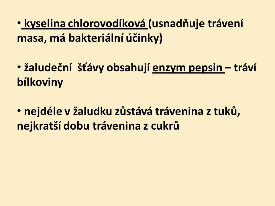 kyselina chlorovodíková (usnadňuje trávení masa, má bakteriální účinky)