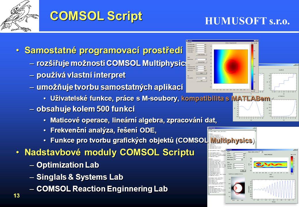 COMSOL Script Samostatné programovací prostředí