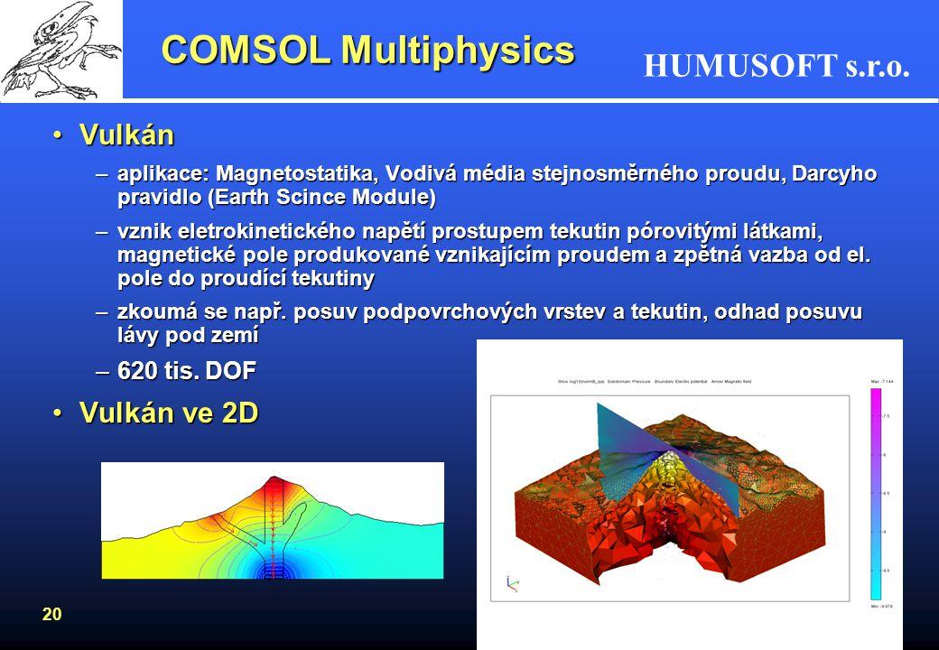 COMSOL Multiphysics Vulkán Vulkán ve 2D 620 tis. DOF
