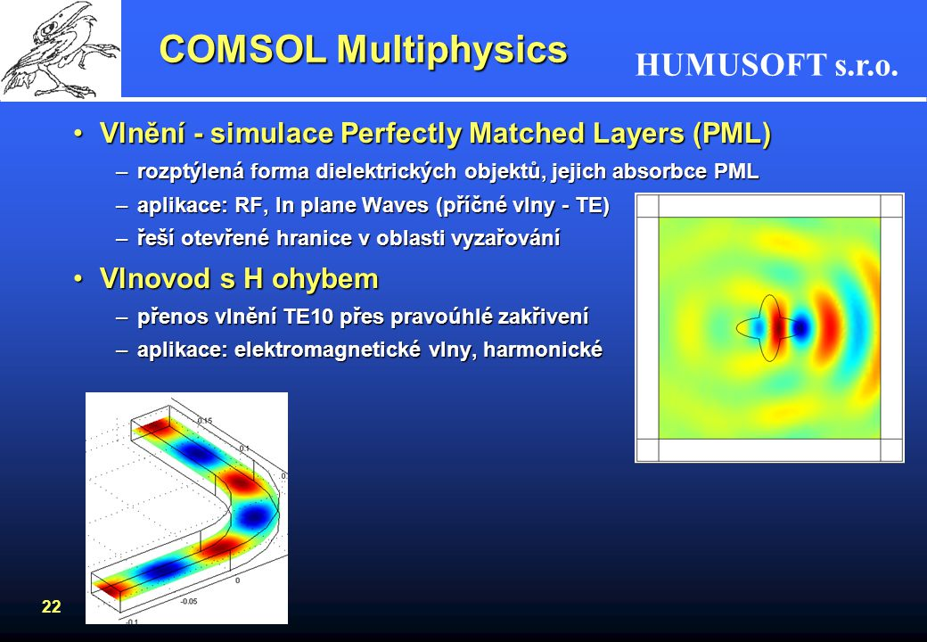 COMSOL Multiphysics Vlnění - simulace Perfectly Matched Layers (PML)
