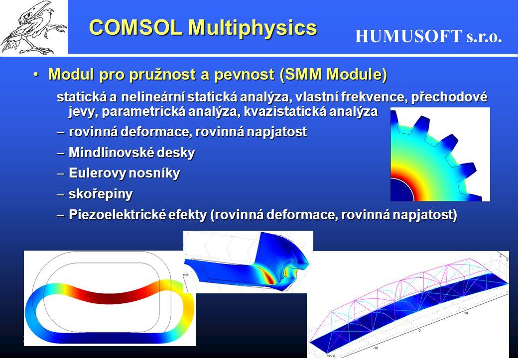 COMSOL Multiphysics Modul pro pružnost a pevnost (SMM Module)