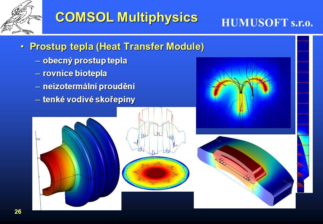 COMSOL Multiphysics Prostup tepla (Heat Transfer Module)