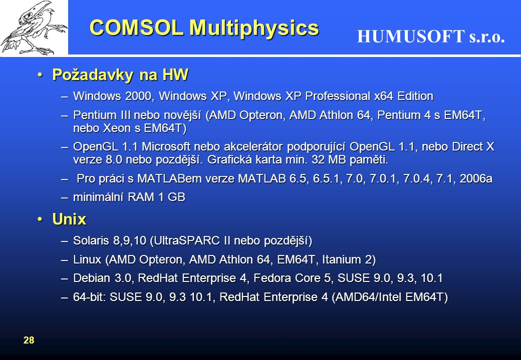 COMSOL Multiphysics Požadavky na HW Unix