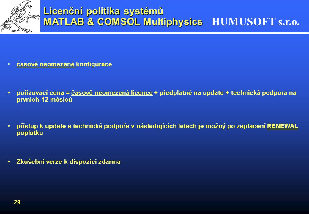 Licenční politika systémů MATLAB & COMSOL Multiphysics