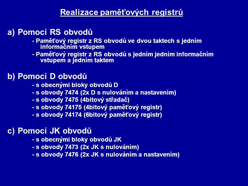 Realizace paměťových registrů