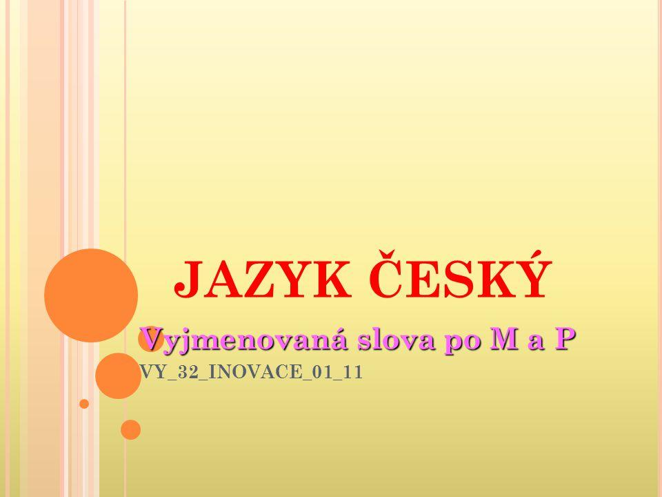 Vyjmenovaná slova po M a P VY_32_INOVACE_01_11