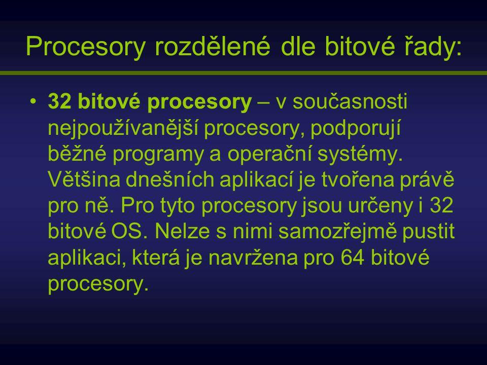 Procesory rozdělené dle bitové řady: