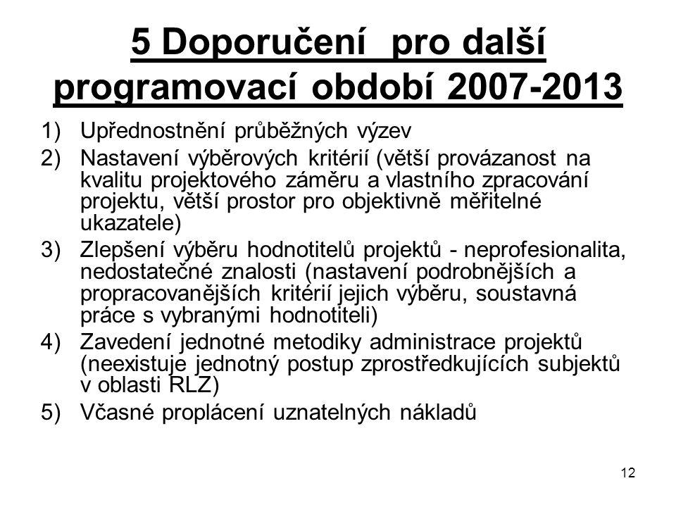 5 Doporučení pro další programovací období 2007-2013