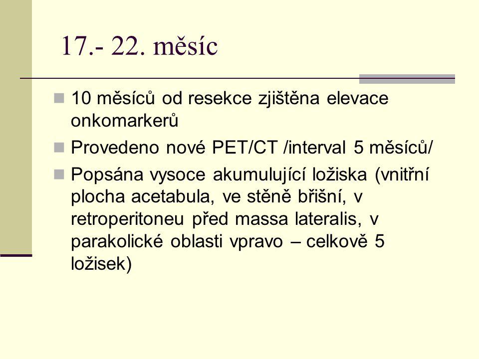 17.- 22. měsíc 10 měsíců od resekce zjištěna elevace onkomarkerů