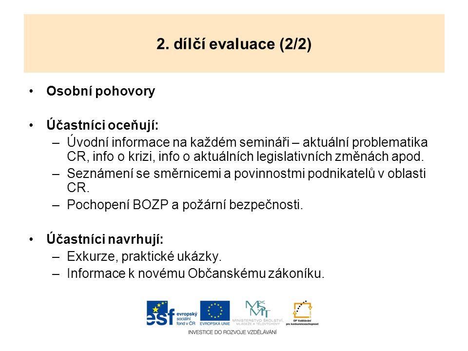 2. dílčí evaluace (2/2) Osobní pohovory Účastníci oceňují: