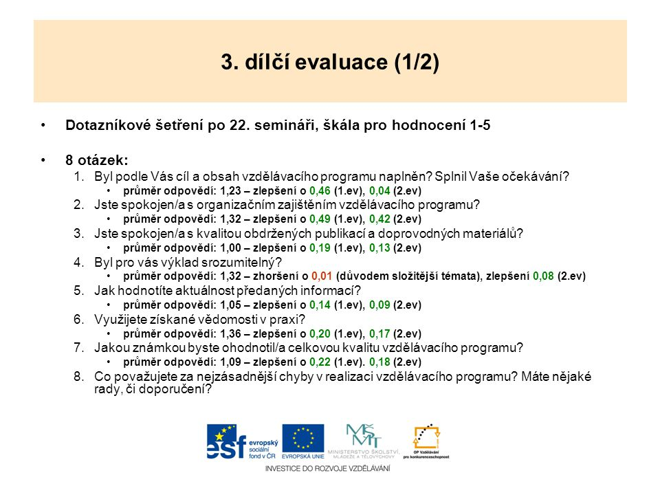 3. dílčí evaluace (1/2) Dotazníkové šetření po 22. semináři, škála pro hodnocení 1-5. 8 otázek:
