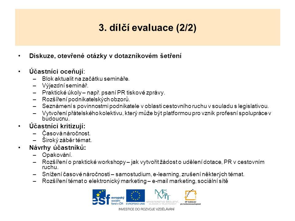 3. dílčí evaluace (2/2) Diskuze, otevřené otázky v dotazníkovém šetření. Účastníci oceňují: Blok aktualit na začátku semináře.