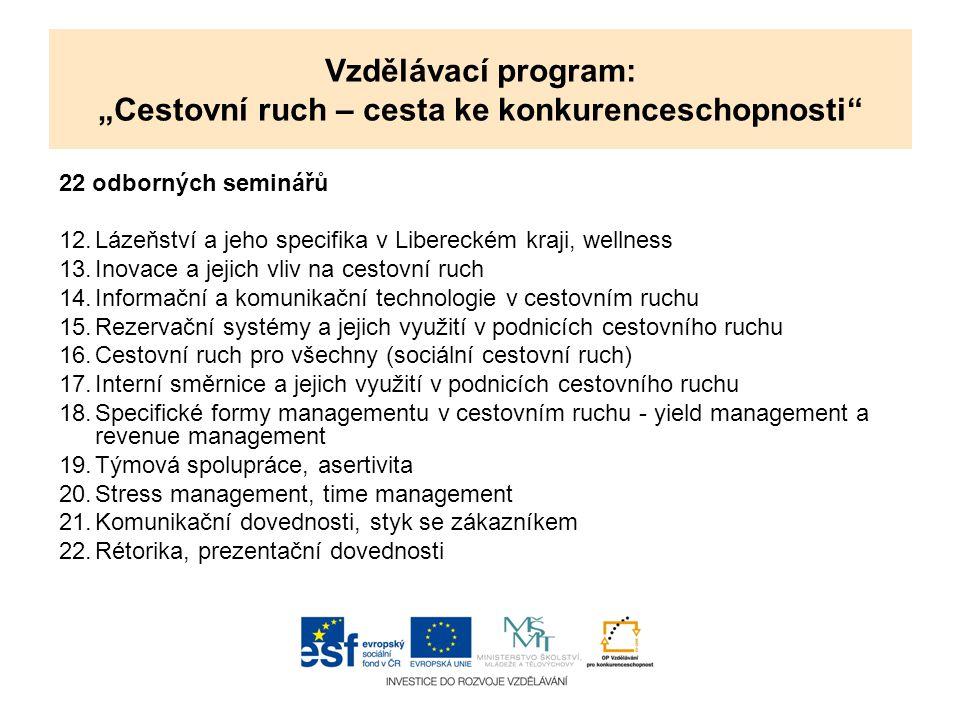 """Vzdělávací program: """"Cestovní ruch – cesta ke konkurenceschopnosti"""