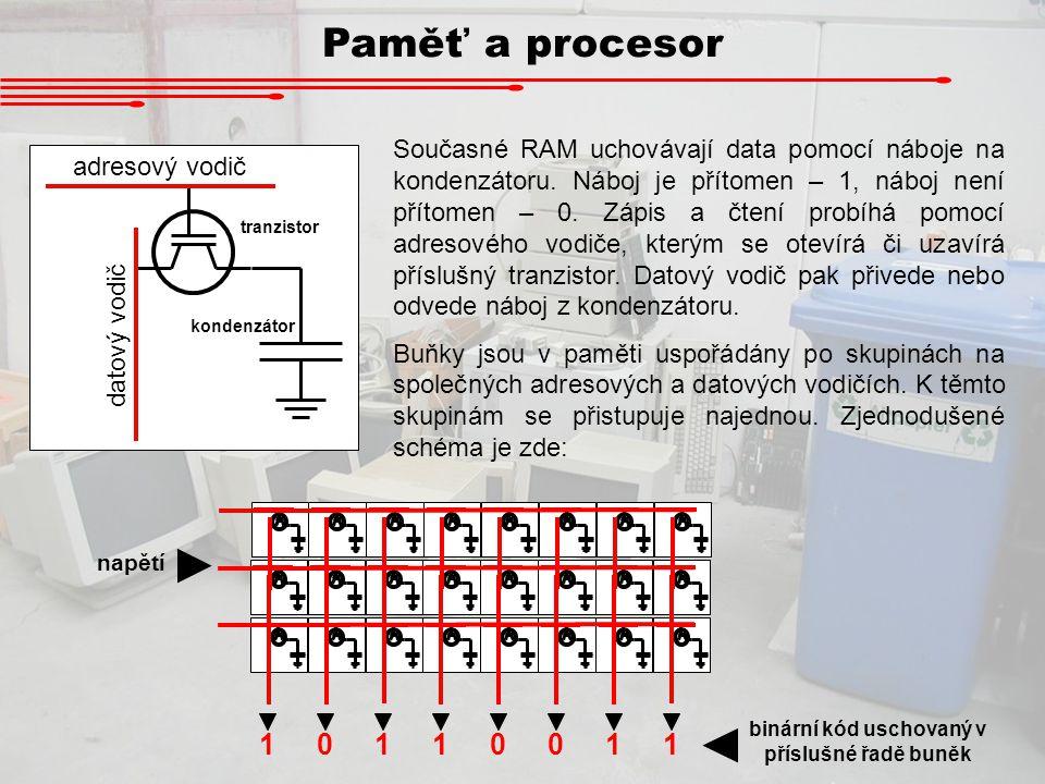 binární kód uschovaný v příslušné řadě buněk