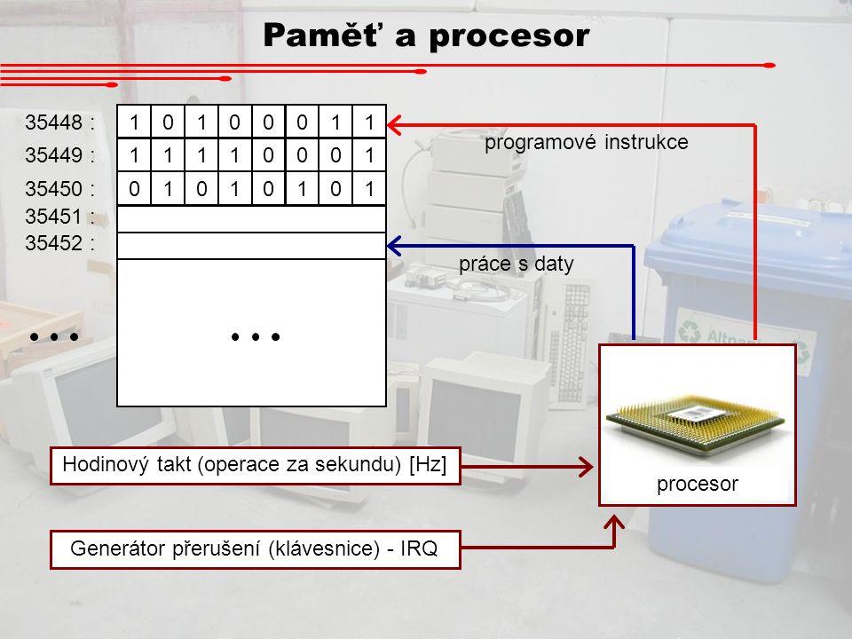 Paměť a procesor 35448 : 1 programové instrukce 35449 : 35450 :