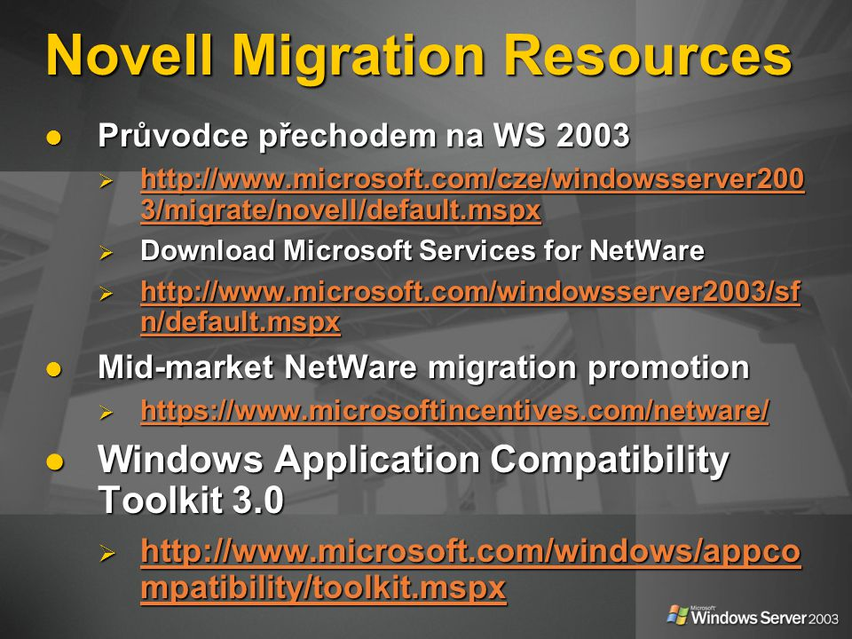 Novell Migration Resources
