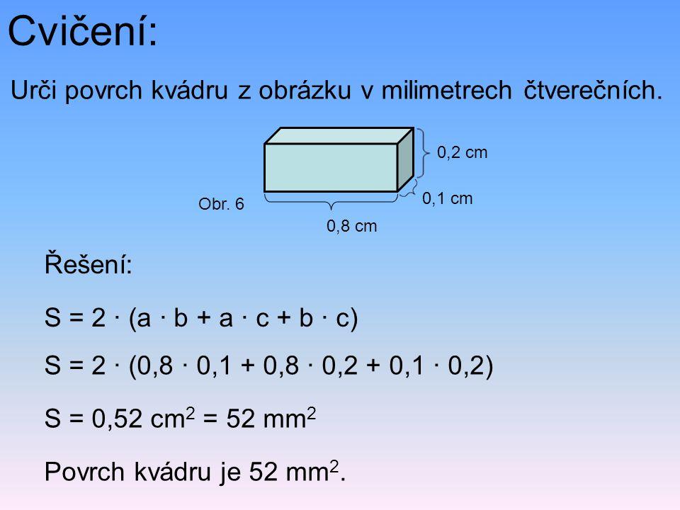 Cvičení: Urči povrch kvádru z obrázku v milimetrech čtverečních.