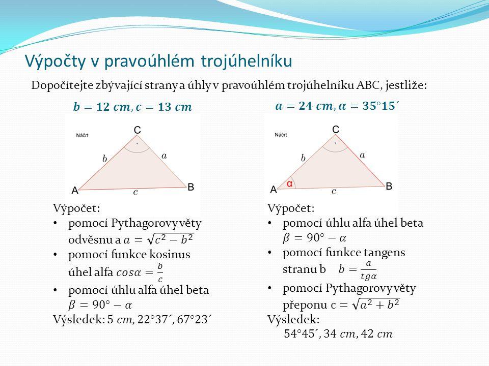 Výpočty v pravoúhlém trojúhelníku