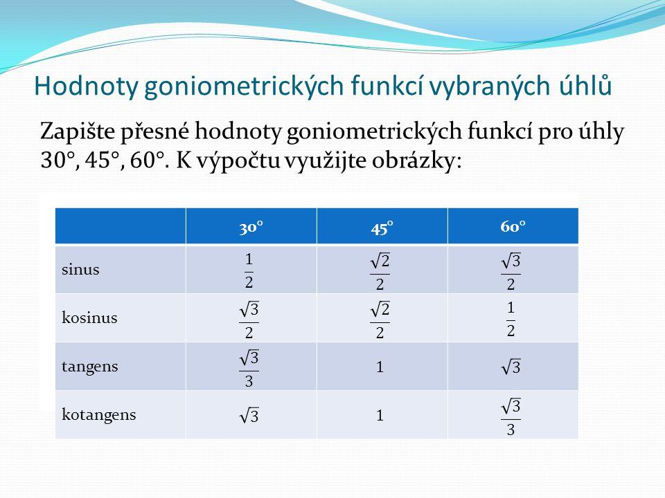 Hodnoty goniometrických funkcí vybraných úhlů