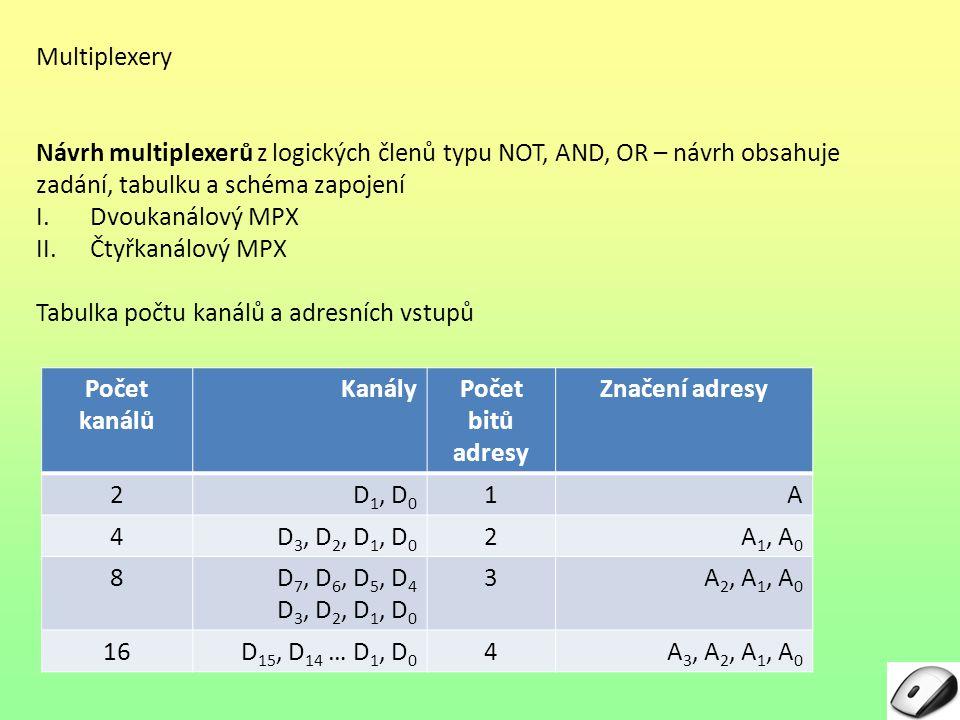 Multiplexery Návrh multiplexerů z logických členů typu NOT, AND, OR – návrh obsahuje zadání, tabulku a schéma zapojení.