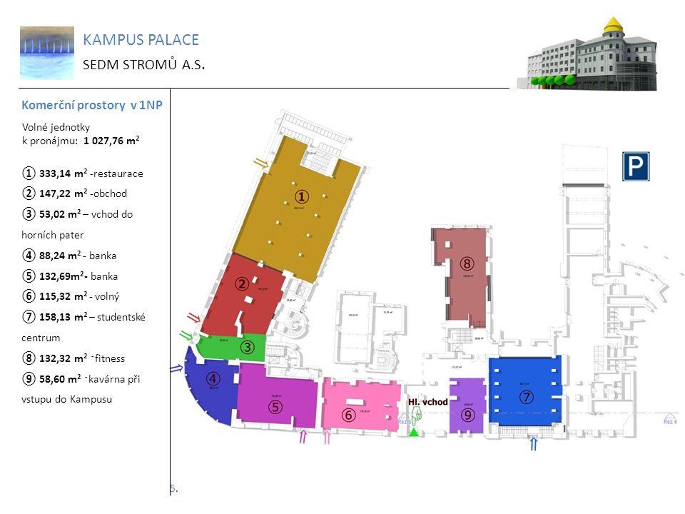 KAMPUS PALACE SEDM STROMŮ A.S. Komerční prostory v 1NP Volné jednotky