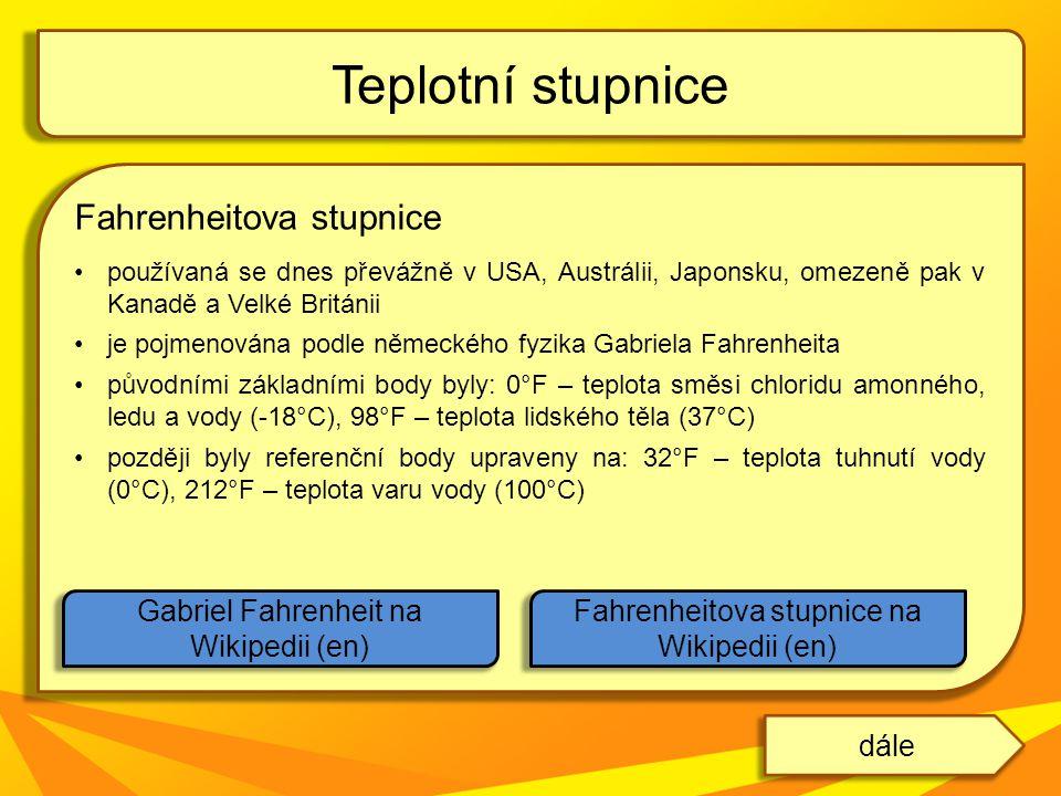 Teplotní stupnice Fahrenheitova stupnice