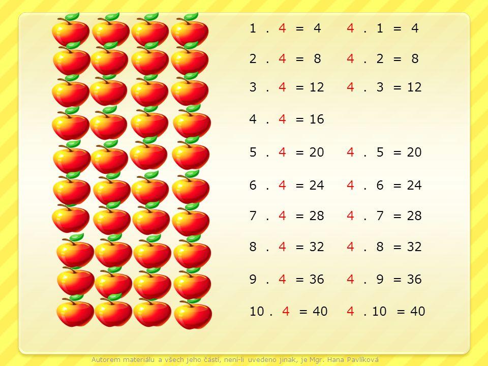 1 . 4 = 4 4 . 1 = 4 2 . 4 = 8 4 . 2 = 8. 3 . 4 = 12 4 . 3 = 12. 4 . 4 = 16.