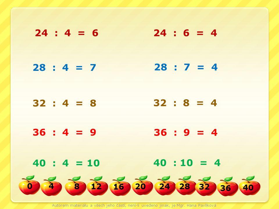24 : 4 = 6 24 : 6 = 4. 28 : 4 = 7. 28 : 7 = 4. 32 : 4 = 8. 32 : 8 = 4. 36 : 4 = 9.