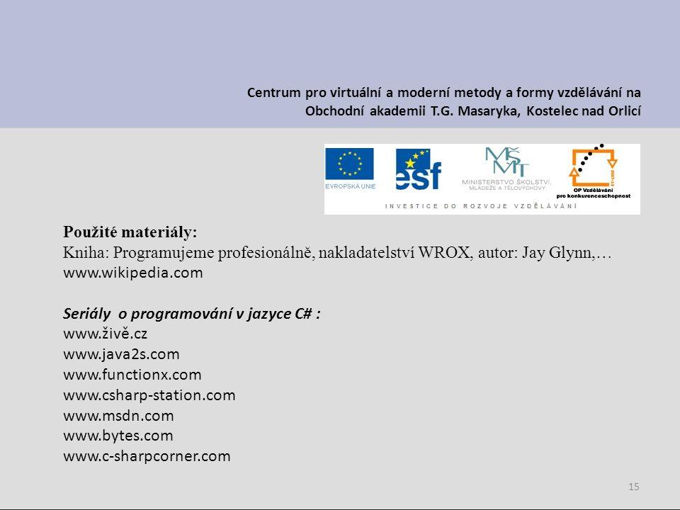 Seriály o programování v jazyce C# : www.živě.cz www.java2s.com