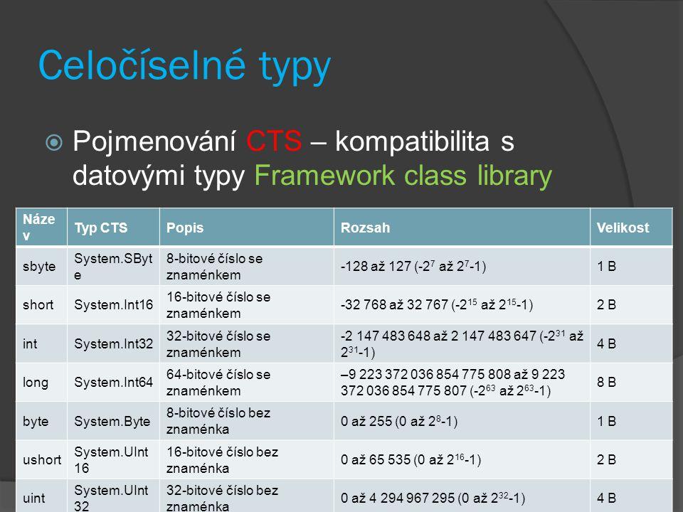 Celočíselné typy Pojmenování CTS – kompatibilita s datovými typy Framework class library. Název. Typ CTS.