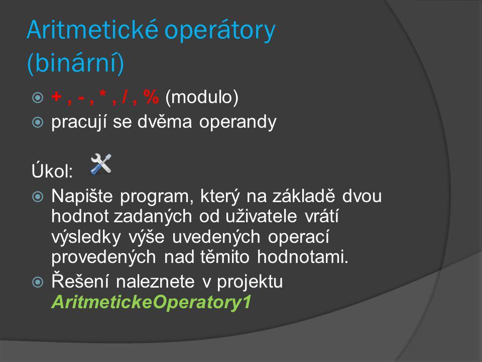 Aritmetické operátory (binární)