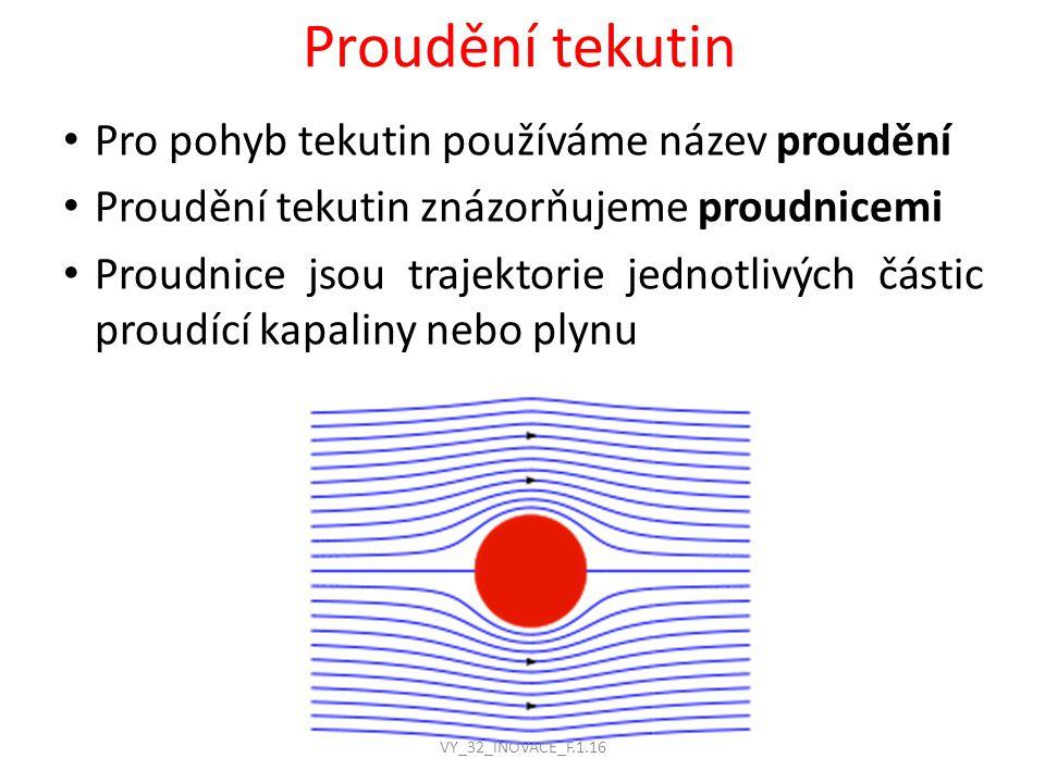 Proudění tekutin Pro pohyb tekutin používáme název proudění