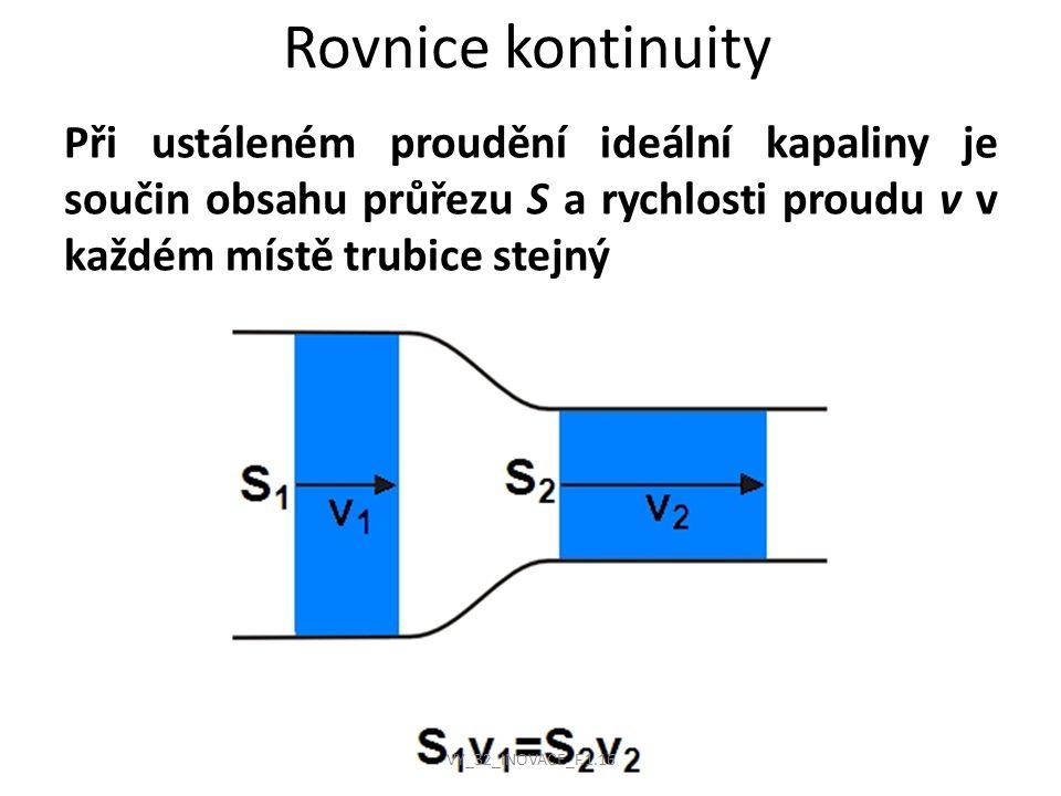 Rovnice kontinuity Při ustáleném proudění ideální kapaliny je součin obsahu průřezu S a rychlosti proudu v v každém místě trubice stejný.