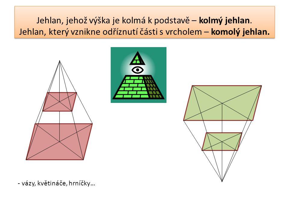 Jehlan, jehož výška je kolmá k podstavě – kolmý jehlan