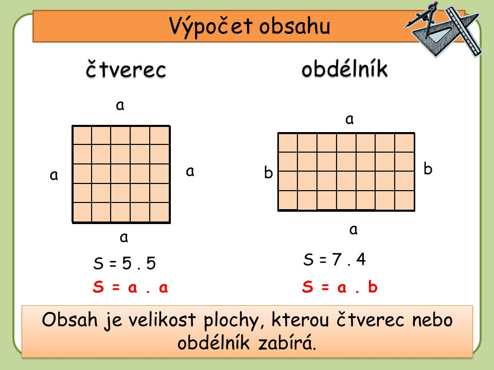 Obsah je velikost plochy, kterou čtverec nebo obdélník zabírá.