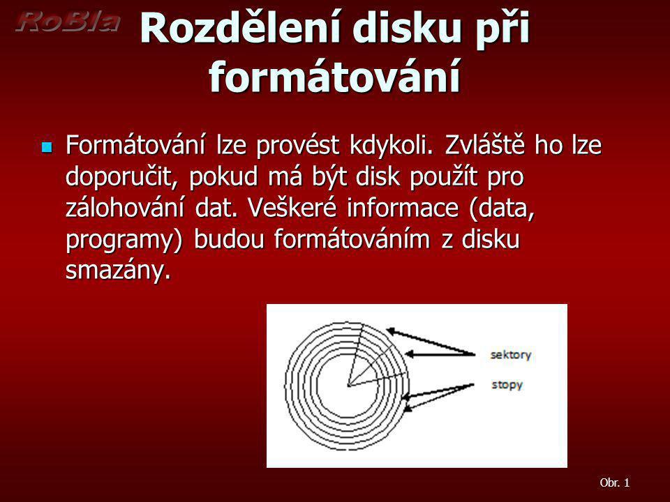 Rozdělení disku při formátování